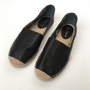 Sam Edelman Black Leather Espadrilles 9 Flats